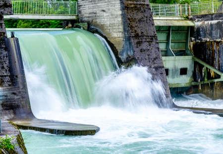old sluice at a dam Banco de Imagens