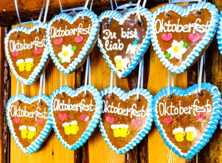 typical souvenir at the oktoberfest in munich - a gingerbread heart - lebkuchenherz