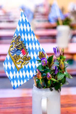 typical mug at a beergarden - bavaria Stock Photo