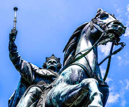 silhouette of a historic statue - ludwig I. at the leopoldstrasse in munich Stock Photo