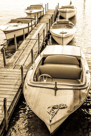 old electric boat at a lake Stock Photo