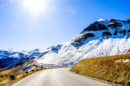 country road at the grossglockner mountains Stock Photo