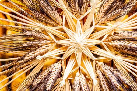 christmas decoration - straw star closeup Stock Photo