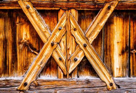 vieux mur en bois à colombages à une stable Banque d'images
