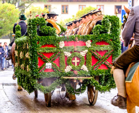BAD TOELZ, BAVARIAGERMANY - NOV 6: horse-carriage procession, named leonhardifahrt on Nov 6 2017 in bad toelz Editorial
