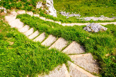 and hiking path: old wooden steps at a trail