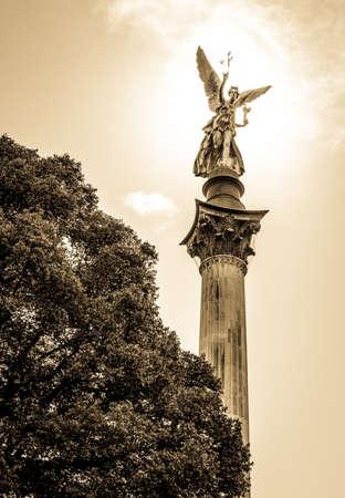 angels fountain: famous friedensengel in munich - germany - Bogenhausen - 1896