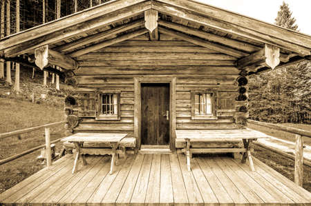 old log cabin at the european alps