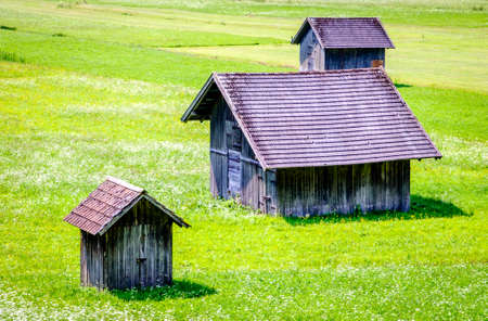 old hut at a meadow