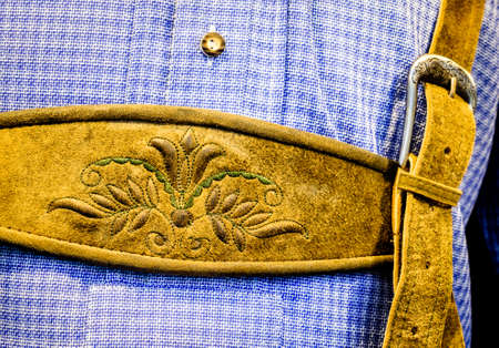 lederhosen: close-up of a typical bavarian krachlederne - traditional clothing Stock Photo