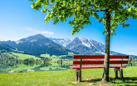 walchsee lake in austria at the wilder and zahmer kaiser Stock Photo