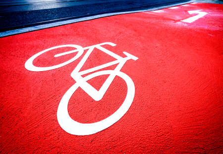 new bicycle lane at a street Stock Photo