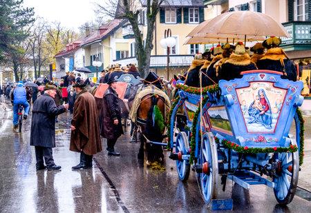 BAD TOELZ, BAVARIAGERMANY - NOV 6: horse-carriage procession, named leonhardifahrt on Nov 6 2017 in bad toelz Editorial