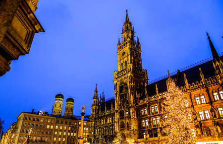 christmas market in munich - germany - new city hall