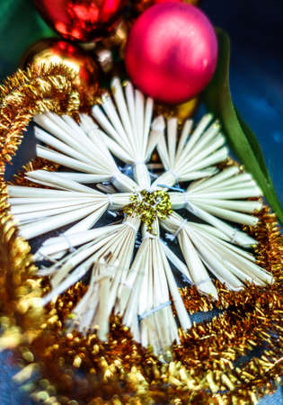 christmas decoration - straw star closeup Stock Photo