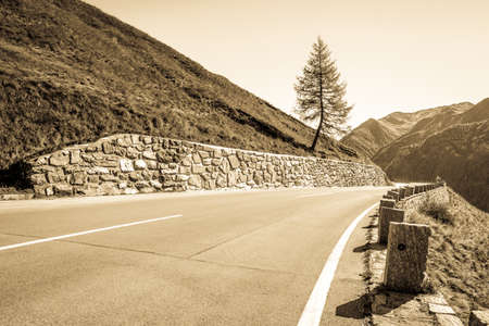 country road at the grossglockner mountains Stok Fotoğraf