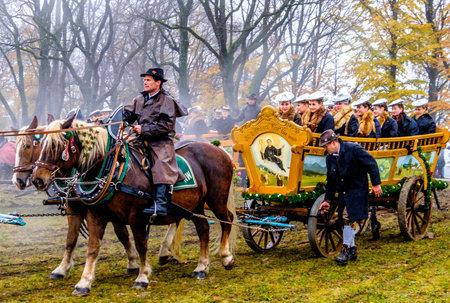 BAD TOELZ, BAVARIA/GERMANY - NOV 6: horse-carriage procession, named leonhardifahrt on Nov 6 2017 in bad toelz