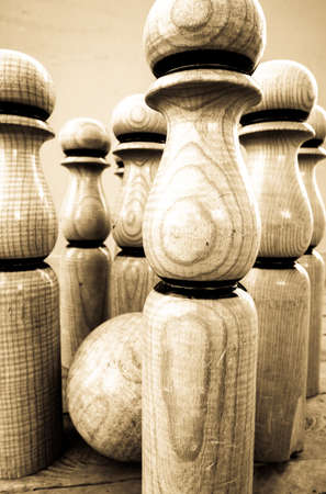 old wooden bowling pins - photo