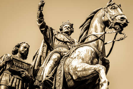 historic statue - ludwig I. at the leopoldstrasse in munich