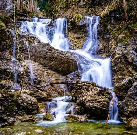 waterfall at the european alps