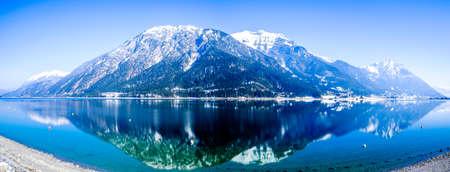 mountains at the village perstisau in austria in winter Stok Fotoğraf
