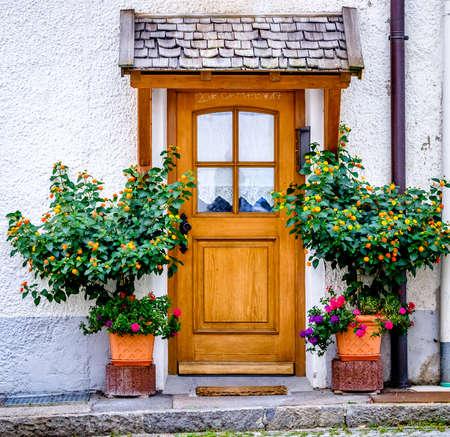 old entrance door and plants Stock fotó