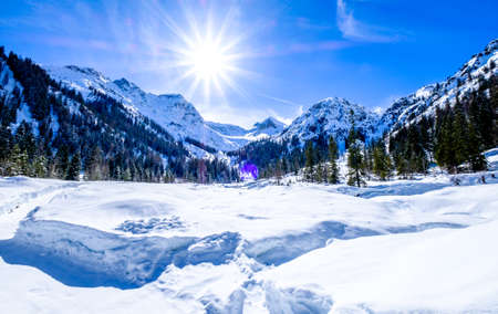 mountains at the village perstisau in austria in winter Stock Photo