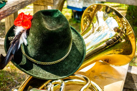 part of a typical bavarian brass instrument - photo Reklamní fotografie - 103980782