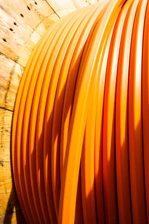 modern cable drum close-up at a construction site