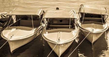 old pedal boat at a lake