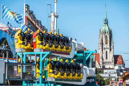 Munich, Germany - September 12: setup of the fairground rides and beertents at the biggest folk festival in the world - the octoberfest on september 12, 2018 in munich. Editorial