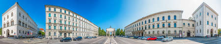 Munich, Germany - August 21: famous siegestor at the ludwig street in munich - germany on August 21, 2018 Editorial