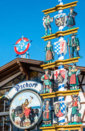 Munich, Germany - September 12: decoration of the famous beer halls at the biggest folk festival in the world - the octoberfest on september 12, 2018 in munich. Editorial