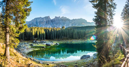 karerlake in italy - Lago di Carezza - at the background the dolomites