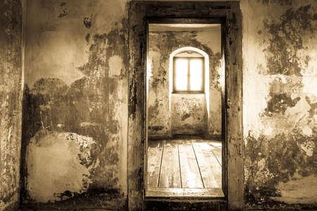 old room with wooden doorframe