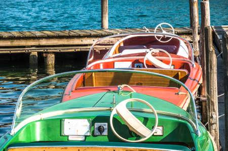 old pedal boats at a lake Stock Photo