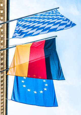 national flags - bavaria, germany and europe