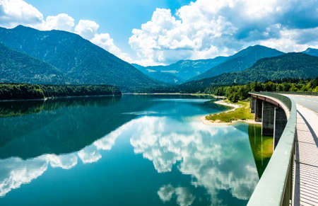 landscape at the sylvenstein lake - bavaria Standard-Bild - 114922103