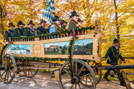 Bad Toelz, Germany - November 6: people with traditional clothes at the annual horse-carriage procession with blessing, named leonhardifahrt on November 6, 2018 in bad toelz, germany