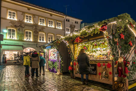 Bad Toelz, Germany - November 27: people at the famous christmas market on November 27, 2018 in Bad Toelz, Germany