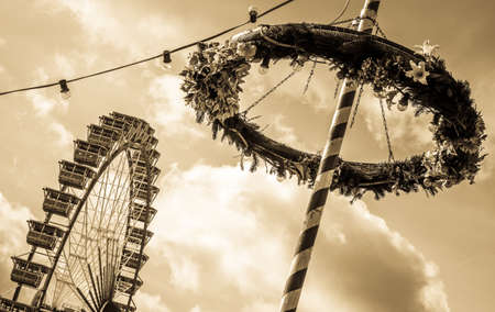 famous ferris wheel at the oktoberfest in munich Stock Photo