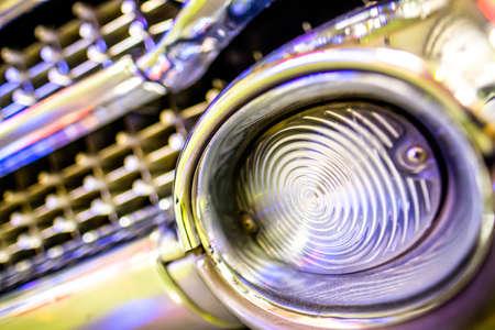 headlight of a vintage car - photo