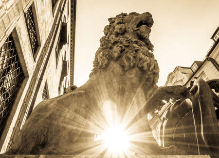 famous bavarian lion at the odeonsplatz in munich