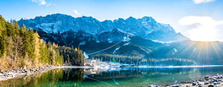 famous eibsee lake in front of zugspitze mountain in germany Фото со стока - 115819043