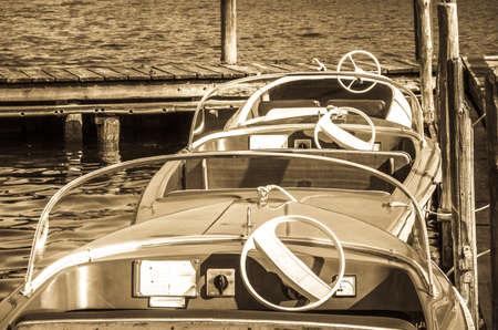 old pedal boats at a lake Banco de Imagens