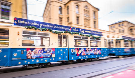 Munich - Germany, December 12: typical tramway in the old town (maximilianstrasse) on December 12,2018 at munichgermany