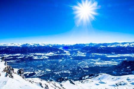 famous inn valley and innsbruck in austria - nordkette mountain Stock Photo