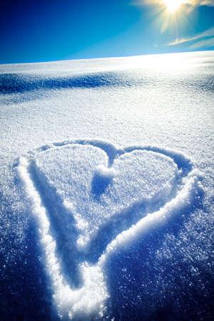 heart shape in snow - winter