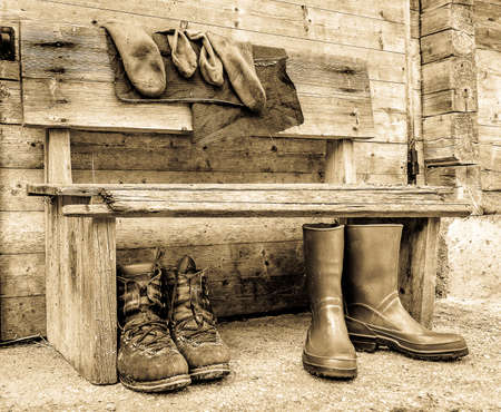 old used hiking boots - photo