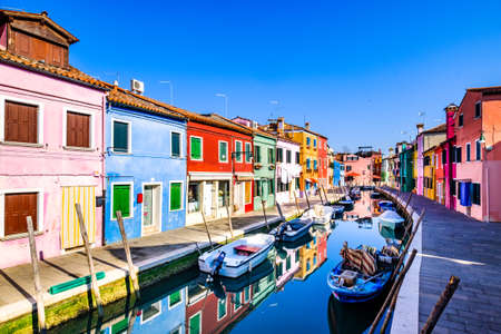 famous old town of the village burano in italy near venice 版權商用圖片
